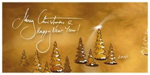 Weihnachtskarte in gold-braun
